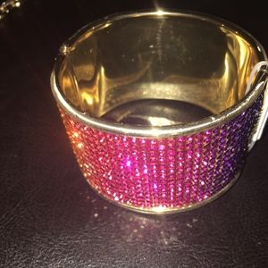 New XOXO Multi Color Crystals Hinged Cuff